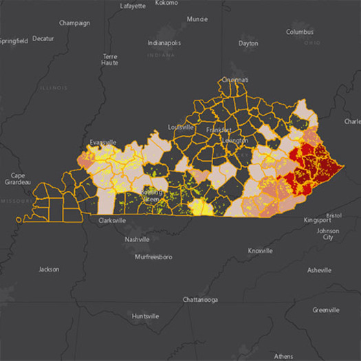 A map generated by Earthworks shows more than 151,000 Kentuckians live in the threat radius of oil and gas drilling operations. (Earthworks)