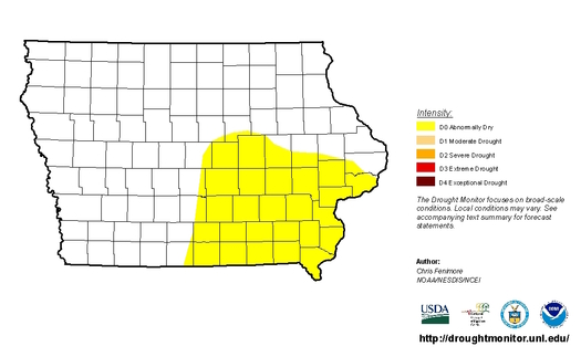More than a quarter of the state of Iowa is experiencing abnormal dryness, more than double the area earlier this month. (droughtmonitor.unl.edu)