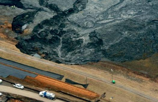 View of the 2014 Dan River coal-ash spill from the Duke Power Plan in Eden, a site that is still in need of cleanup. (Environment North Carolina)
