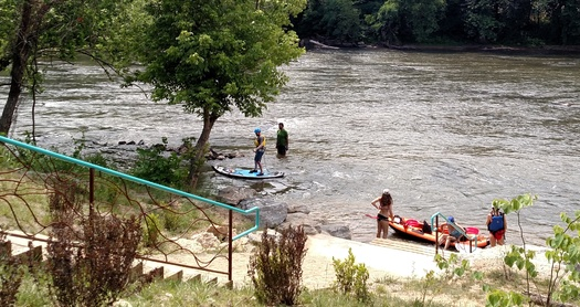 RiverLink's newly installed river access point at Pearson Bridge in Asheville opens up recreation opportunities for all kinds of watercraft. (PEarson/RiverLink)
