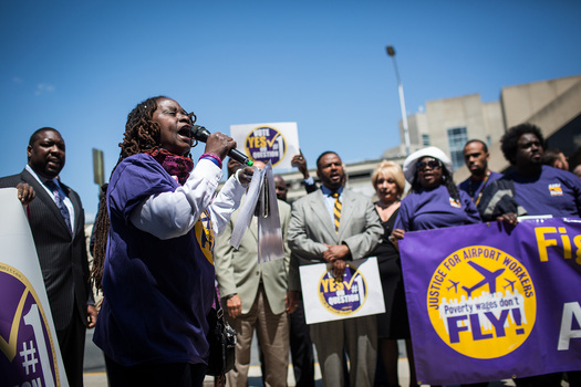 Workers say low-wage airport jobs help keep Philadelphia No. 1 for poverty. (32BJ SEIU)