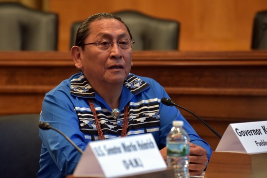 Gov. Kurt Riley with the Pueblo of Acoma speaks at a news conference announcing the introduction of the STOP Act in Congress. (Heinrich Staff Photo)