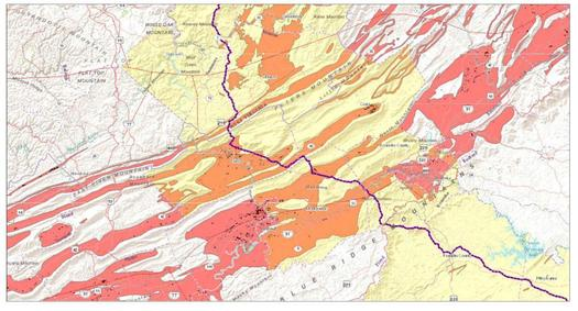 "A study of the geology along the proposed Mountain Valley Pipeline route shows it would run through a fragile, karst ""no-build zone."" The karst is orange and pink here; the pipeline route is purple. (Kastning)"