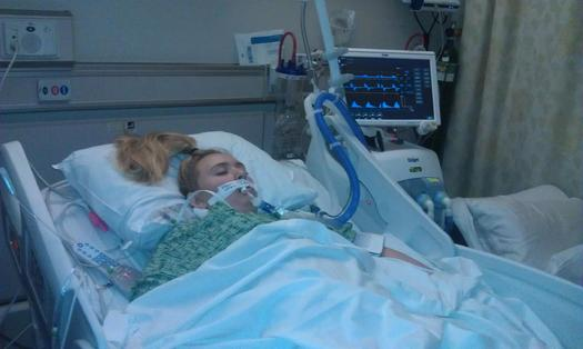 Taylor Smoot, in a medically-induced coma after surgery for blood clots caused by a generic drug. (Taylor Smoot)