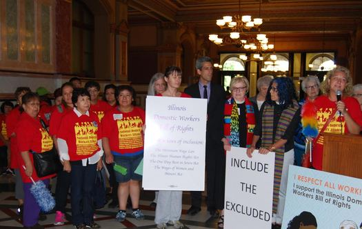 Magdalena Zylinska, right, speaks in support of the Illinois Domestic Workers Bill of Rights during a rally in Springfield. (Arise Chicago)
