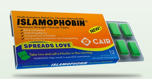 """A """"Community Unity"""" march takes place near the RNC today, and the Council on American-Islamic  Relations is passing out """"Islamophobin"""" gum as a gag gift to promote tolerance. (CAIR)"""