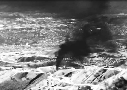 Imagen infrarroja que muestra la fuga de gas en el Cañón Aliso, el otoño pasado. (Environmental Defense Fund)