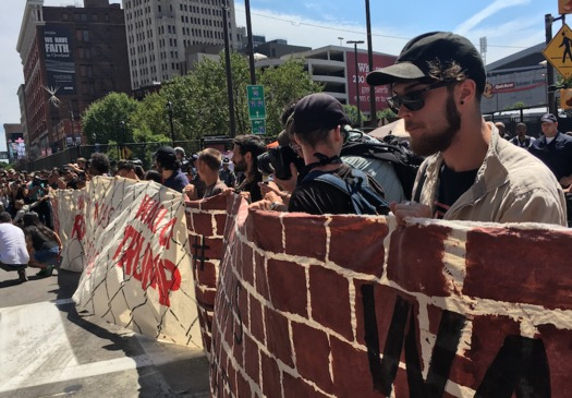 Caravan members participated in the Wall Off Trump protest in Cleveland. (Grassroots Global Justice)