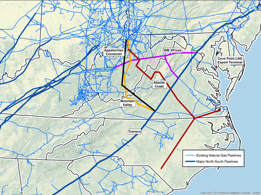 Federal regulators are moving forward with several huge gas pipeline projects despite criticism that natural gas is fast becoming an outmoded power source. (Dominion Pipeline Monitoring Coalition)