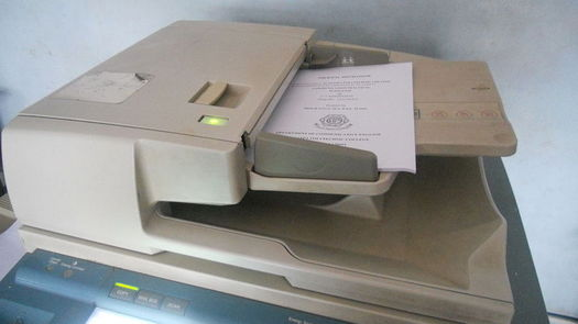 Many commercial copiers and scanners contain hard drives that store data. (Guruleninn/Wikimedia Commons)