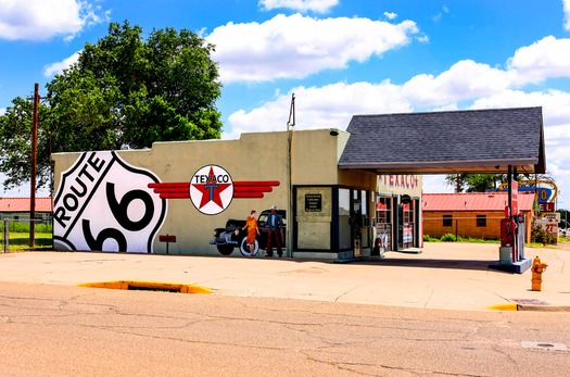 A remodeled Texaco gas station, originally built in the 1950s, sits along the original Route 66 through Tucumcari, New Mexico. (csphoto/iStockphoto)