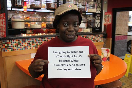 """More than 100 Illinois fast-food workers are in Virginia for the first-ever nationwide """"Fight for $15"""" convention. (Fight for $15 Chicago)"""