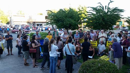 People at a Black Lives Matter gathering in Josephine County on Aug. 9 were met with a counter-protest by members of the Oath Keepers. (Rural Organizing Project)