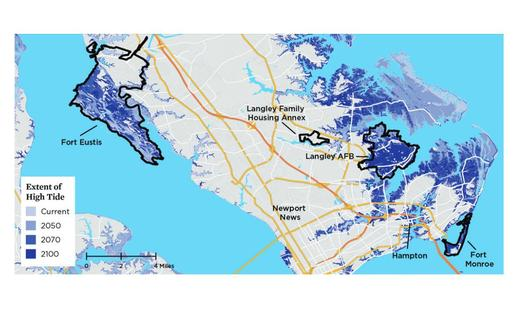 According to a new report, Atlantic and Gulf Coast military bases, particularly those in Newport News, are threatened by sea-level rise from climate change. (Union of Concerned Scientists)