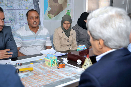 The Obama administration recently increased the number of Syrian refugees accepted into the U.S. Just over 100 have settled in the past year in Boise. Above, U.S. Secretary of State John Kerry at a refugee camp in Jordan. (U.S. Dept. of State)