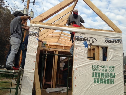 This is one of three tiny houses being built this school year by students in eastern Kentucky, a project designed to build new skills for the region's changing economy. (KY Valley Educational Cooperative)