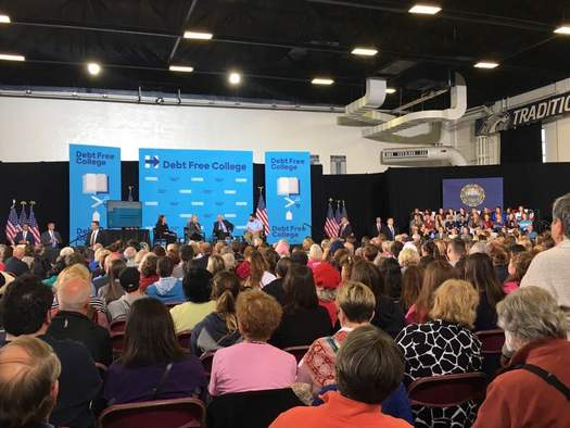 Younger voters in the Granite State say Bernie Sanders and Hillary Clinton picked the right issue when they talked about student debt Wednesday at UNH. (L. Meyer)