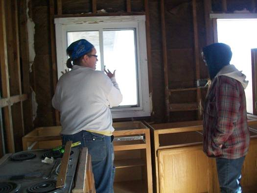 Women learn to build homes for the needy through the Women Build program in Indiana. (Virginia Carter)
