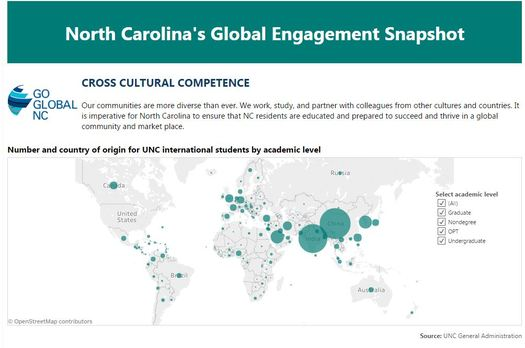 The Global NC Snapshot offers perspective on pieces of information such as where international students in the state come from. (Go Global NC)