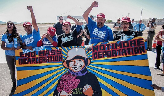 Protestors from the group Puente Arizona demonstrate against immigration raids that are the subject of a case heard in federal court on Thursday. (Puente Arizona)