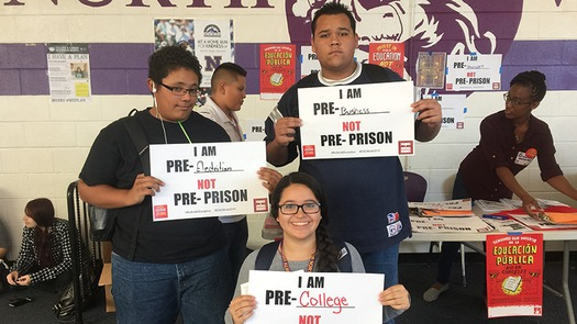 North High School students in Denver demonstrate against the school-to-prison pipeline during the Dignity in Schools 2015 Week of Action. (Padres & Jóvenes Unidos)