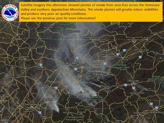 Smoke is reported across the state and can even be seen on satellite photos. (National Weather Service)