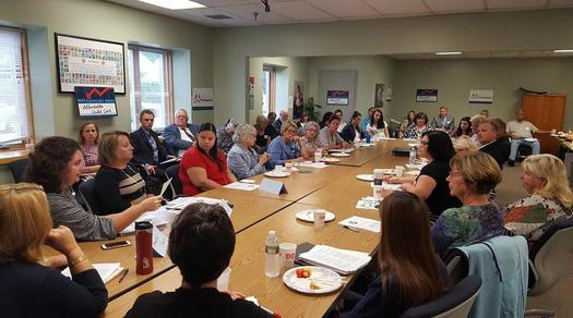 Advocates for affordable child care are holding forums - like this one in Manchester - with state legislators across New Hampshire. (Campaign for a Family Friendly Economy)