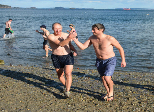 Dr. Tony Owens will be one of the more than 50 Mainers taking a polar plunge at East End Beach on Saturday to call attention to the need for action on climate change. (Natural Resources Council of Maine)