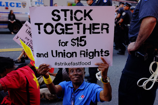"""The """"Fight for $15"""" movement that began with fast-food and other low-wage workers helped spark California's latest round of minimum-wage hikes. (NY Communities)"""