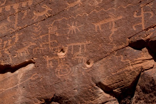 Bullet holes mar the petroglyphs at Gold Butte. Supporters are praising President Obama's designation of the area as a national monument. (Justin McAfee/Friends of Gold Butte)