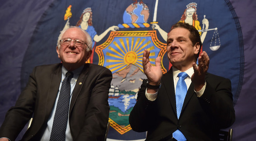 U.S. Sen. Bernie Sanders, I-Vt., joined Gov. Andrew Cuomo for the announcement. (GovernorAndrewCuomo/Flickr)