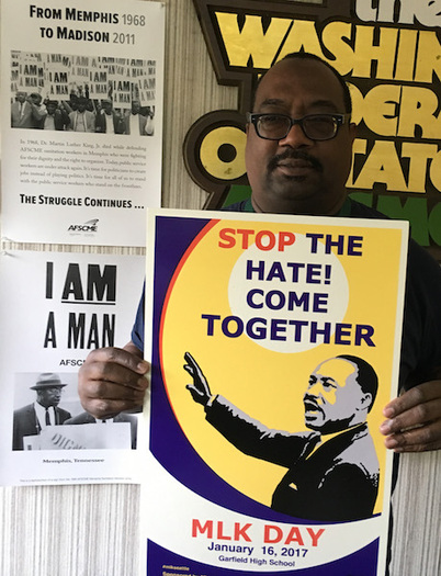 "The theme for this year's MLK Day march in Seattle is ""Stop the hate: Come together."" (Washington State Federation of Employees)"