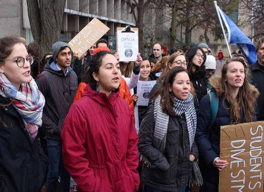 Bay State college and university students walk out of class Monday) to protest President Trump's cabinet nominees. (BU Divestment)