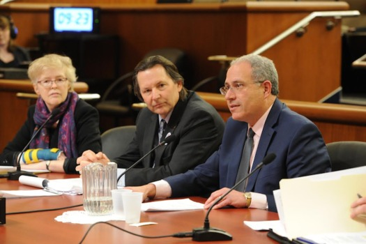 NYSUT Executive Vice President Andrew Pallotta, right, testifying in legislative budget hearings this week. (NYSUT)