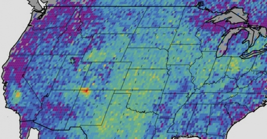 NASA graphics show a methane gas cloud hovering over the Four Corners area. Today, the U.S. House of Representatives is scheduled to kill a federal rule meant to reduce methane pollution. (NASA)