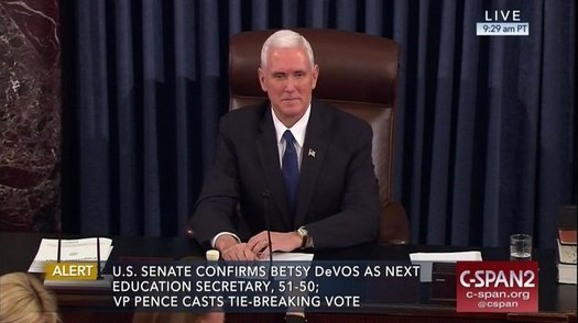 It took Vice President Mike Pence to break the tie vote and approve controversial nominee Betsy DeVos as U.S. Education Secretary. (CSPAN 2)