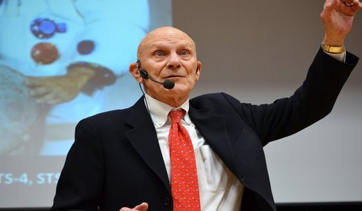 """Command Module Pilot of the 1972 Apollo 16 mission, Ken Mattingly, speaks at """"ciWeek 8"""" in Des Moines this week. (DMACC)"""