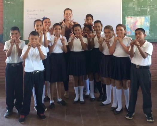 Laura Linde, back row center, is one of 87 UW-Madison students serving abroad in the Peace Corps. She teaches science in Nicaragua. (UW-Madison)