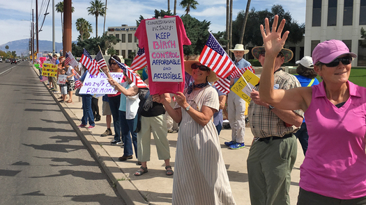 Voters rallied outside Rep. Martha McSally's office, urging the Tucson Democrat to vote against the American Health Care Act. (Dennis Newman)