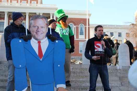 "Climate activists used a giant puppet of Gov. Charlie Baker at a ""Speak Up, Charlie"" action on Friday,  demanding that Baker do more to stand up against Trump proposals they say harm the environment. (350 Mass)"