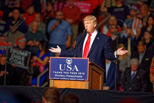 On the campaign trail, then-candidate Donald Trump promised to release his income-tax returns eventually. Now, he says he doesn't think people are that interested. (Wikimedia Commons)