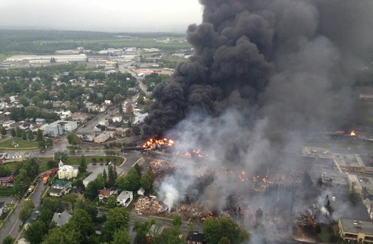Forty-seven people died from the 2013 derailment of an oil train in Lac-M�gantic, Quebec. (S�ret� du Qu�bec/Wikimedia Commons)