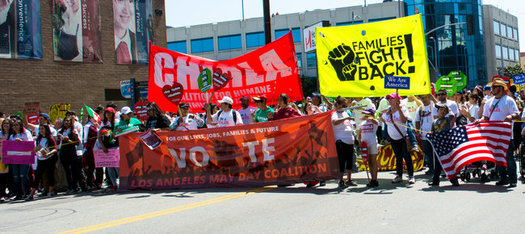 Immigrants rights groups marched in Los Angeles on May Day 2016. (Jorge-Mario Cabrera/CHIRLA)