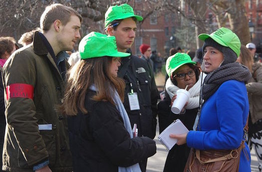 National Lawyers Guild Legal Observers document rights violations at protests. (Thomas Altfather Good/Wikimedia Commons)
