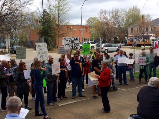 Citizens gather every Tuesday in front of Sen. Thom Tillis's office in Raleigh to request a meeting with the Senator. (Resist Trump Tuesday)