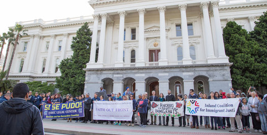 Protestors last year gathered for the 20th annual Immigration Policy Day, formed in the wake of Prop. 187 in 1996.(Calif. Immigrant Policy Ctr.)
