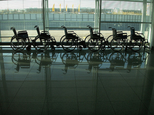 Airport attendants who assist people in wheelchairs say the wheelchairs often are not properly cleaned between passengers. (Daniel Lobo/Flickr)