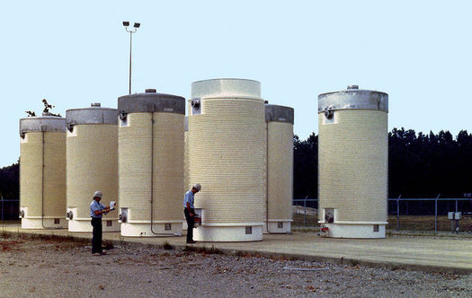 Highly radioactive fuel rods currently are stored on site in spent fuel pools or dry cask storage. (NRC)