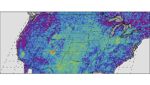 "A satellite photo shows the yellow and red ""hot spot"" of methane emissions in the Four Corners region. (NASA)"