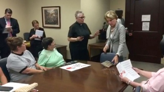 A West Virginia minister says she'll do anything she can - including going on a hunger strike - to get senators such as Shelley Moore Capito to vote against healthcare legislation. (Janice Hill/Youtube)